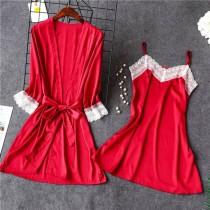 2PC Sommer Satin Pyjama Kleid Set