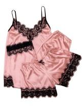 3PC Satin Pyjama Set mit Spitzenbesätzen