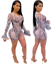 Sexy Print Long Sleeve Bodycon Rompers with Wide Sleeve Cuffs