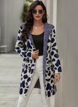 Abrigo de suéter largo de leopardo con capucha de otoño