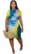 Summer Tie Dye Bodycon Kleid