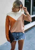 Chemise en tricot à col rond contrastant Western