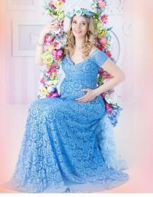 Pregenant vestido de novia de encaje completo