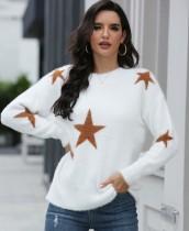 Lässige Stars Round Neck Regular Sweater