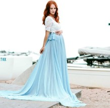 Vestido de novia de manga corta superior de encaje pregenant
