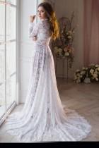 Pregenant Full Lace Langarm Brautkleid