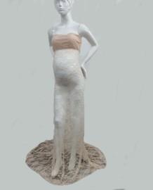 Vestido de novia sin tirantes de encaje completo Pregenant