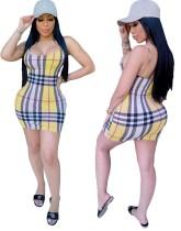 Sexy karierte Träger Bodycon Kleid