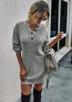 Autumn Street Style Strick Minikleid