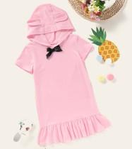 Kids Girl Летняя розовая рубашка с капюшоном платье