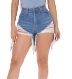 Pantalones cortos de mezclilla rasgados de cintura alta con estilo