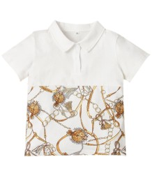 Kids Boy Sommer Print White Collar Shirt