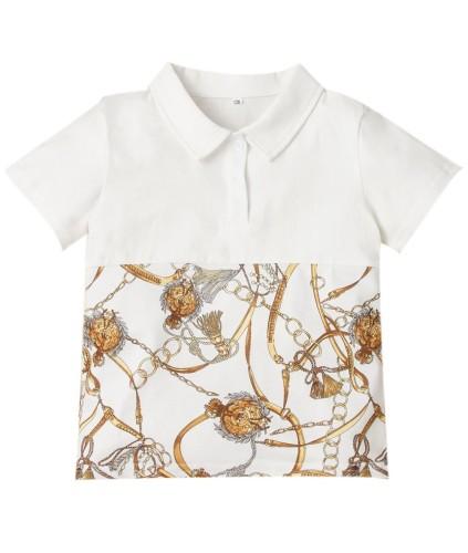 Kids Boy Sommer Print White Collar Shirt