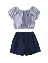 Çocuklar kız yaz çizgili gömlek ve fırfır şort Set