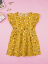 Детское летнее платье с цветочным принтом A-Line