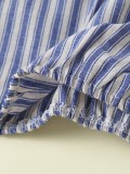 Conjunto de camisa a rayas y pantalones cortos con volantes de verano para niñas