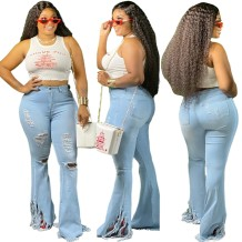 Stylish High Waist Fit and Flare Rip Jeans