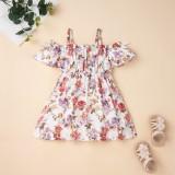 Vestido floral con correa de verano para niña