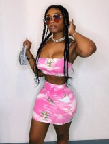 Sexy Tie Dye Strap Crop Top and Mini Skirt Set