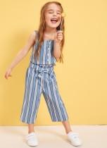 Çocuklar Kız Yaz Çizgili İki Adet Pantolon Seti