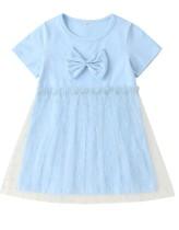 Детское летнее платье с синим слоем Mesh