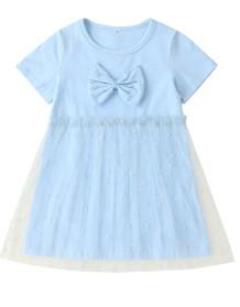 Kinder Mädchen Sommer Blue Mesh Layer Kleid