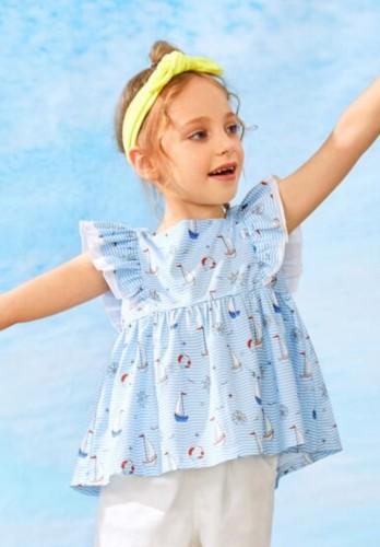 Kinder Mädchen Sommer Print Schößchen Shirt