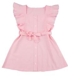 Kindermeisje zomer roze ruches A-lijn jurk