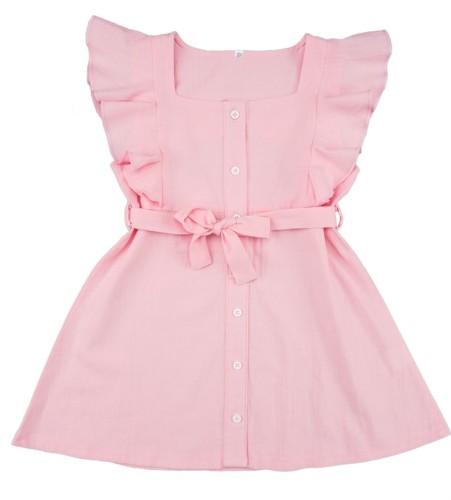 Vestido acampanado rosa con volantes de verano para niña