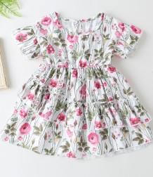 Kinder Mädchen Sommer Blumen Skater Kleid