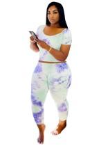 Conjunto de pantalón ajustado de dos piezas Summer Dye Tie