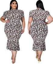 Summer Plus Size Leopard Formal Dress