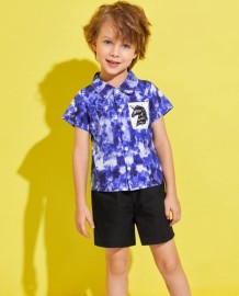 Kids Boy Summer Tie Dye Shirt and Black Shorts