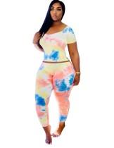 Summer Tie Dye Zweiteiliges Bodycon Pants Set