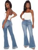 Elegantes jeans de corte alto y acampanados