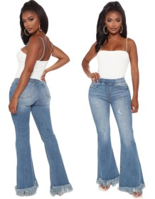 Stylish High Waist Fit and Flare Jeans