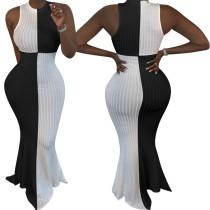 Vestido de noche de sirena sin mangas blanco y negro africano
