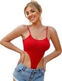 Body de tanga con correa sexy roja de verano