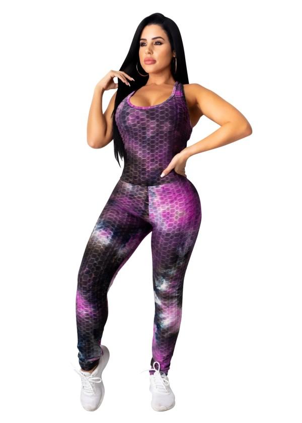 Mono sexy halter de fitness con efecto tie dye