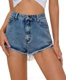 Shorts de mezclilla con borlas azules Street Style