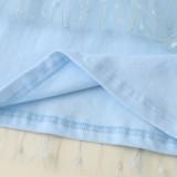 Vestido de capa de malla azul de verano para niñas