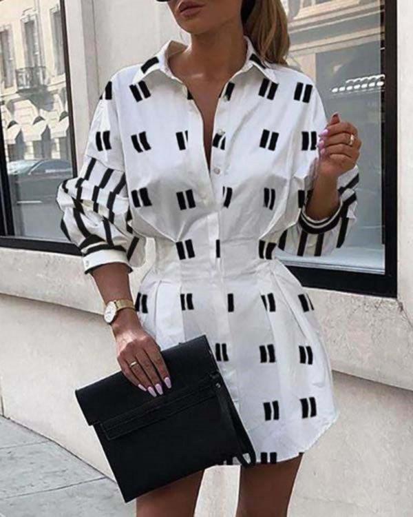 Vestido camisero estampado en blanco y negro otoño