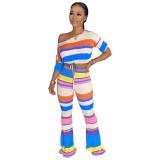 Conjunto de top y pantalones de verano africano Rainbow Crop