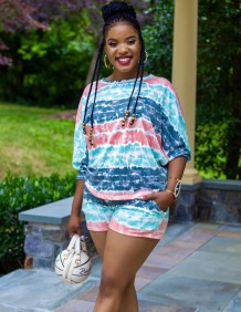 Autumn African Tie Dye Two Piece Shorts Set