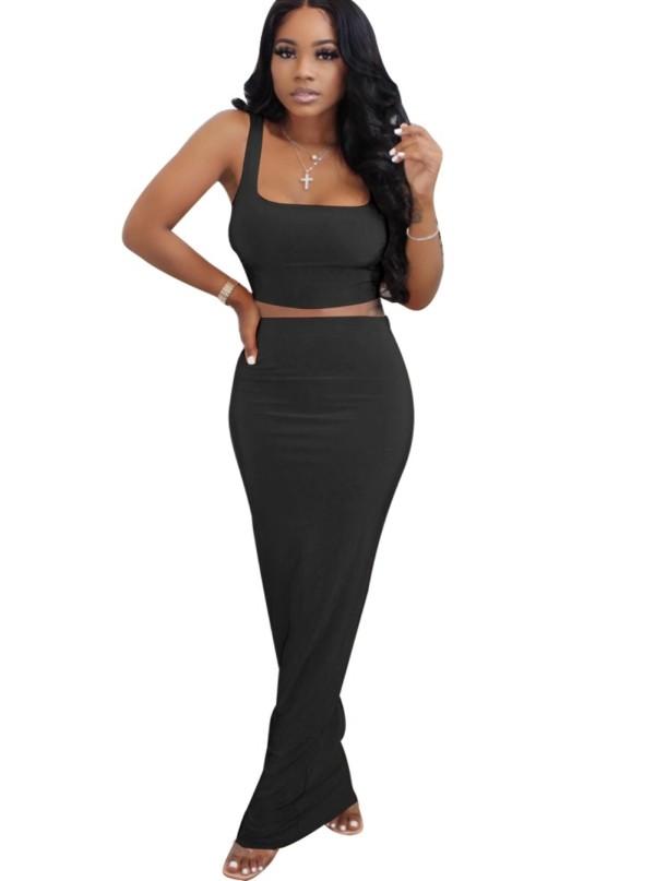 Conjunto de falda larga africana lisa de verano de dos piezas