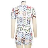 Conjunto de pantalones cortos biker de dos piezas Summer Butterfly