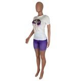 Conjunto de camisa de verano con labios apretados y pantalones cortos degradados