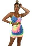 Conjunto de top y minifalda con tirantes y tirantes tie dye sexy de verano