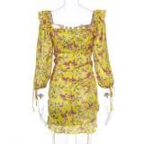 Vestido de verano cuadrado amarillo floral sexy