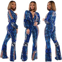 Autumn Print Blue African Fit and Flare Jumpsuit